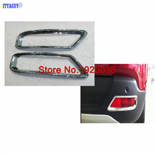 Car styling ABS Chrome Rear Fog Light Lamp Cover Trims for Peugeot 3008 2PCS tail fog light cover trim Rear fog lamp cover(China)
