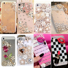 Smartphone case Fashion Bling Crystal Pearl Rhinestone Hard Clear Case Cover Transparent hard shell For Samsung iPhone 6 7plus(China)