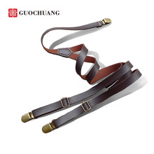New retro leather strap leather suspenders clip braces men general  england clothing  recessionista suspenders for men and women