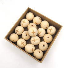 30pcs wood round ball CROSS bead shaped burnt engrave diy accessory wooden craft for necklace bracelet unfinished EA145-1(China)