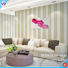 Green Bud Color Spring will be near Living room bedroom  Stripe fresh striped TV background vertical strips DZAS-CJ wallpaper