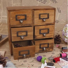 Zakka 6 drawer storage box groceries vintage wooden finishing cabinet desktop organizer Free Shipping