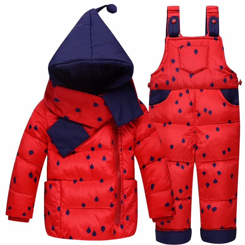 2017 Winter Childrens Clothing Set Kids Ski Suit Overalls Baby Girls Down Coat Warm Snowsuits Jackets+bib Pants 2pcst 0-5t<br>