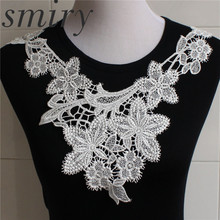2016 New 1pc100% Polyester Off White Floral Lace Collar Fabric Trim DIY Embroidery Lace Fabric Neckline Applique Sewing Craft(China)