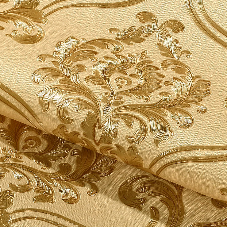Sale European Simple Luxury Beige Gold Damask Wallpaper For Walls 3 D Classic Deep Embossed TV Room Living Room Wall paper Home<br>