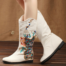 Winter spring autumn multi-purpose ethnic flower embroidered vintage fashion boots womens slip-on knee height cotton shoes
