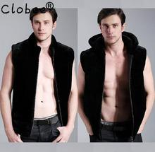 Black fashion Hooded warm faux fur coat vest mens leather jacket men vests coats slim winter thermal outerwear splice 3XL(China)