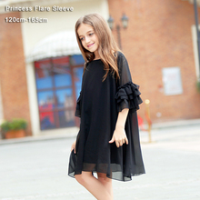 Big Girls Dress Summer Short-sleeve Flare Sleeve Chiffon Kids Girls Dress Teens Girls Vestidos Black Girl Dress 6 - 15 years