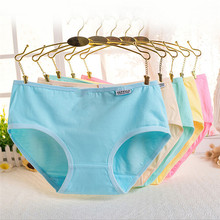 Buy Candy Color Sexy Female Underwear Women's Cotton Panties Lady Breathable Underpants Girls Knickers Panty Briefs Hot