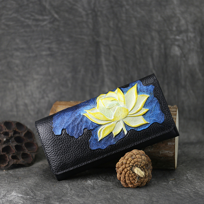Genuine Leather Woman Wallet Handmade Long Purse Vintage Solid Cowhide multiple Card Holder Clutch Fashion Standard Wallet Lotus<br>