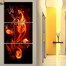 Free Shipping 3pcs/set nature abstract canvas paintings modern wall art for living room golden yellow flower no frame(China)
