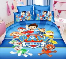 Blue Paw Patrol dog bedding bed linen set boy's bedspreads for single twin size beds 3Pcs include duvet cover sheets pillow