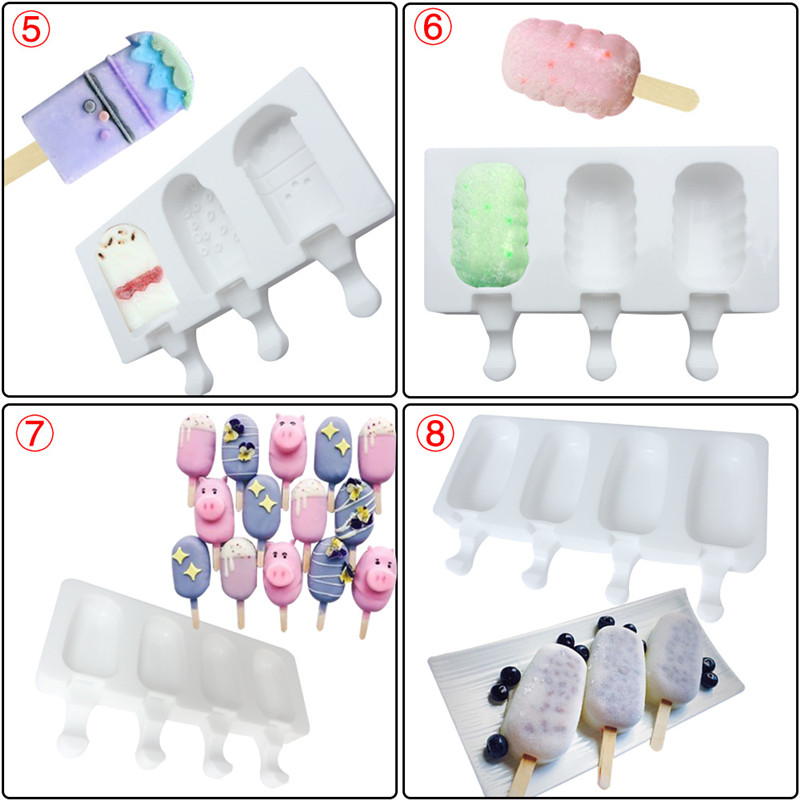 Ice Cream Tools 2 even 3 home ice cream mousse ice cream silicone mold popsicle popsicle silicone mold 2019 summer 9 shape AprO1 (4)