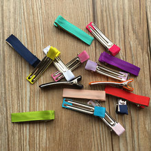 Various Colors 50pcs/lot 5cm Grosgrain Ribbon Lined Double Prong Alligator Clips for making Hair Bows DIY Hair Accessories(China)