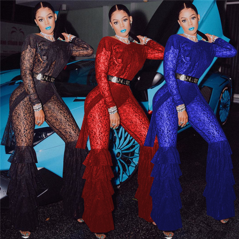 Sexy Sheer Mesh Black Lace Jumpsuit Women Long Sleeve See Through Layered Flare Pants Romper One Piece Night Club Party Jumpsuit