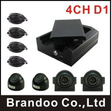 DIY installation 4 CHANNEL MDVR kit with dome camera and side view car camera, waterproof , HDD recording for bus,taxi,train,car