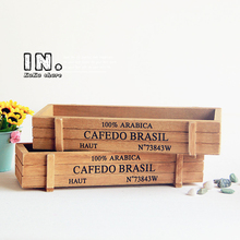 2pcs Zakka Vintage Bins Desk Organizer Cabinet Storage Box Holder Wooden Juicy Plant Container Flowerpot Garden DIY Accessories
