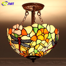 FUMAT European Metal Garden Creative Ceiling Lamp Warm Art Stained Glass Aisle Lightings For Living Room Ktichen Ceiling Lamp