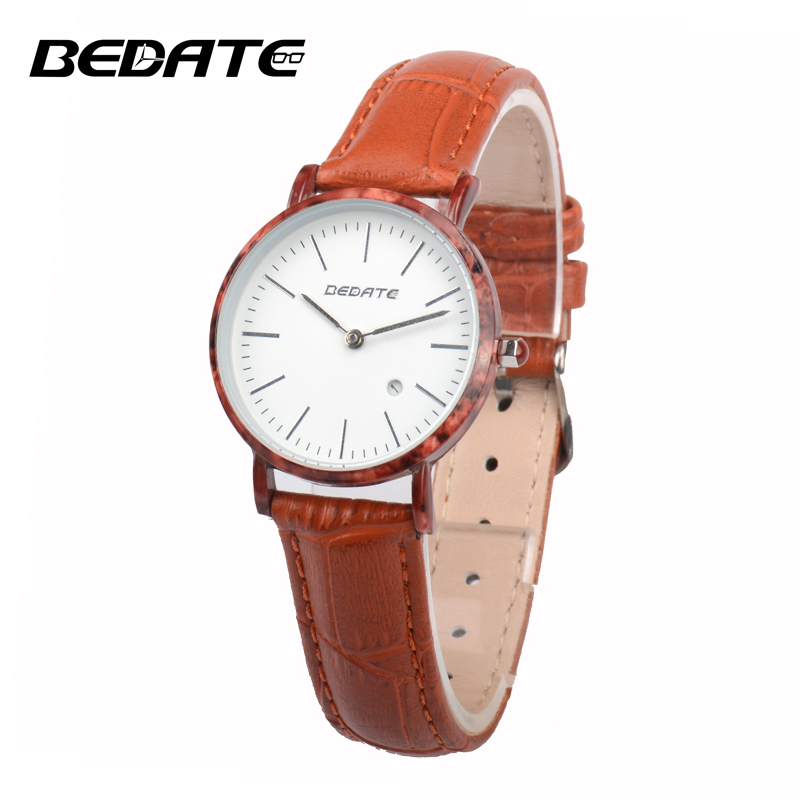 BEDATE 2017 Quartz watch Leather strap women wristwatchwomen watches  Simple atmosphere watch relogio feminino ZS-W1060AL<br>