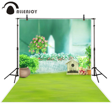 Allenjoy photographic background Fuzzy teddy bear grass flowers backdrops boy christmas scenic photocall 10x10ft