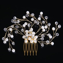 Crystal Glass Hairwear for Women Fashion Elegant Pearl Female Hairpin Rhinestones Jewelry Crystal beads Hair Stick CY161117-33
