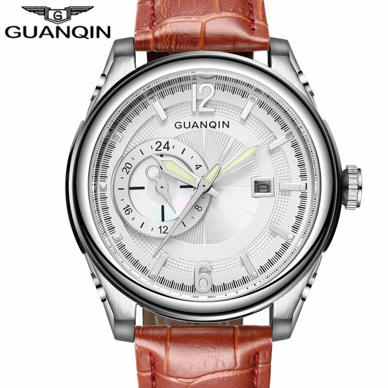 Luxury  Brand GUANQIN Men Watch Sport Big Dial Quartz Watch Mens Waterproof Leather Strap Wristwatch Reloj Relogio Masculino<br><br>Aliexpress