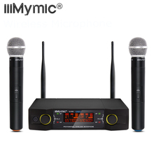 UHF 600-700MHz Dual Channel 2 Handheld Mic Transmitter Professional UHF Wireless Microphone System with Screen for Karaoke KTV