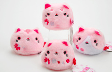 Kawaii 4Designs Per SET , NEW Pink Cats Toy 7CM Beads Stuffed TOY DOLL ; Wedding Gift TOY Bouquet TOY DOLL