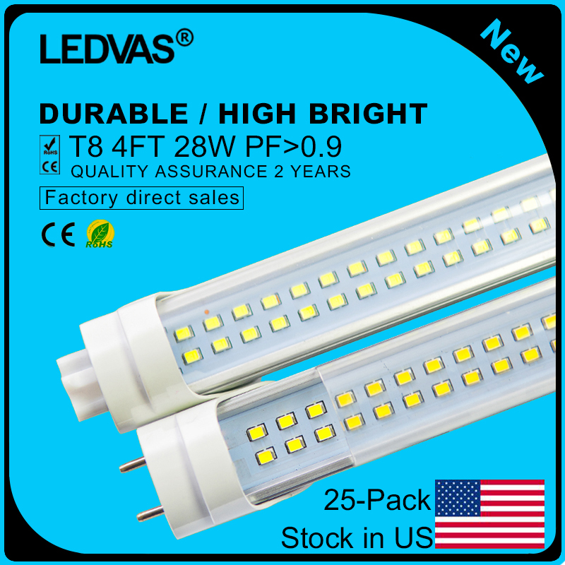 Stock in US LEDVAS T8 LED Tube Lights 4Ft 1200mm 1.2m 28W LED Bulb Double Strips 288pcs LEDs Free Shipping 25-Pack(China)