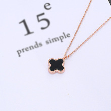 Fashion O-Chain Rose Gold Double-Leaf Clover Necklace Female Simple Clavicle Copper Chain With Jewelry