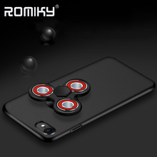 Romiky Handspinner Phone Case for iPhone 7 6 Plus Matte Case Finger Hand Fidget Spinner Toys 2 in 1 Cover for iPhone 6s 7 Plus