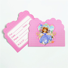 10pcs children birthday sofia princess theme paper Invitation Card for Kid Happy Birthday Party Decoration