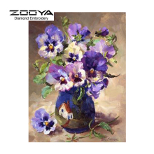 Diy Diamond Painting Purple Flowers Vase On The Table Diamond Cross Stitch Square Diamond Embroidery Sets Home Decoration BJ55