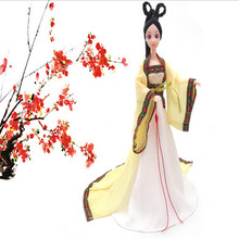 3pcs/set ancient fairy dolls 3D eyes fairy girl birthday gift ornaments 12 joint body + head +clothes toys dolls sets