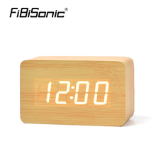 FiBiSonic Wooden Digital LED Alarm Clock Time Despertador Sound Control USB/AAA Temperature Display Electronic Desk Table Clocks