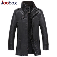 2016 Black Leather Suede Thick Windbreaker Long Leather Jacket Wool Liner Pilot Tactical Jacket PU Pilot Leather Jacket Male
