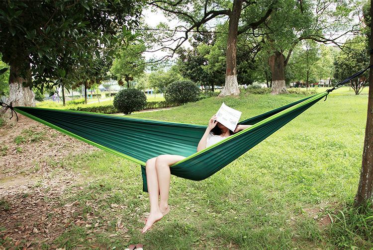 Double person Hammock Portable Parachute Nylon Fabric Travel Ultralight Camping hamak Outdoor Furniture casual hanging bed hamma 3