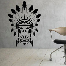 Free Shipping Modern Design Wall Stickers Home Decor Native American Indian Wall Decor Removable Vinyl Art Decal Creative Murals(China)