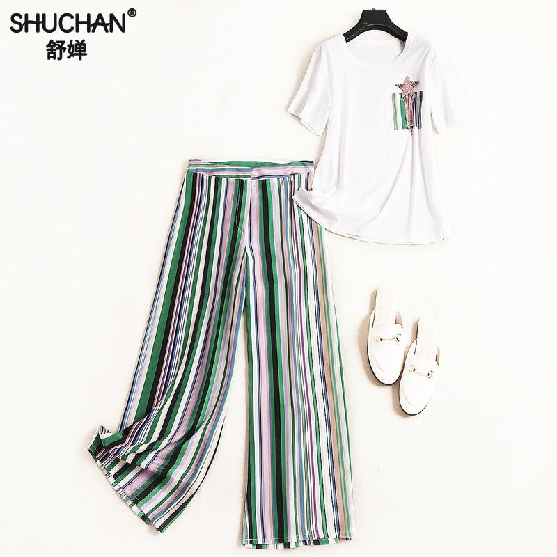 Shuchan  Womans Clothing Fashionable Suit Casual White T-shirt With Short Sleeve+green Striped Ankle-length Pants Two Piece Set