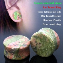 Pair  Ear Tunnel Natural Stone Plugs Green Gauges Flesh Body Piercing Punk Ear Expander Reamer Stretching 5mm-16mm