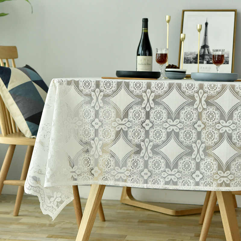 Hollow Lace Tablecloths White /Blue Rectangular Table Cover Embroidered Floral Tablecloths For Dining Table Home Decor QT051D3