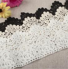 3 Yards / Lot Width 9cm White 100% Cotton Embroidered Lace Fabric , DIY Handmade Materials Lace Trim Free Shipping RS101(China)