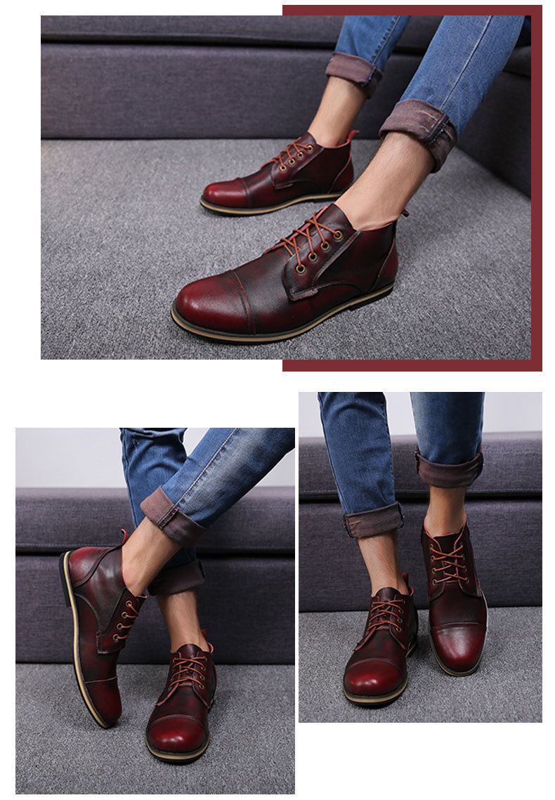COSIDRAM Plus Size 47 Men Boots Genuine Leather High Top Men Shoes Fashion Ankle Boots For Men Winter Shoes Male Botas RMC-082 12