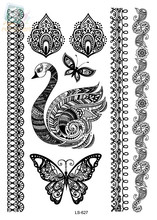 LS627/ Latest Indian Design Black Butterfly Swan Henna Ink Lace Temporary Tattoo Sticker