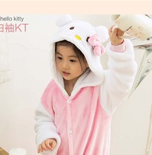 Children Clothes unisex kids Hello Kitty Animal Pajamas one piece Cosplay Costumes Boys Girls Flannel Sleep Tops Onesies Pyjama