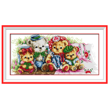 Teddy Bear Family Patterns Counted Cross Stitch 11CT 14CT Cross Stitch Sets Chinese Cross-stitch Kits Embroidery Needlework(China)