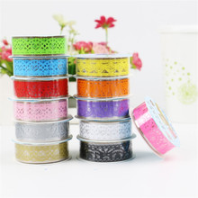 3PCS DIY Scrapbooking Colorful Lace Tape Decoration Roll Tape Candy Color Washi Decorative Sticky Masking Self Adhesive Tape