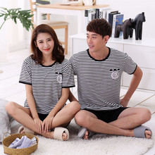 Summer Lovers Sleepwear Short Sleeve trousers Woman's Lounge Pyjamas Couple Mens Pajama Sets Cute cartoon leisure wear suits