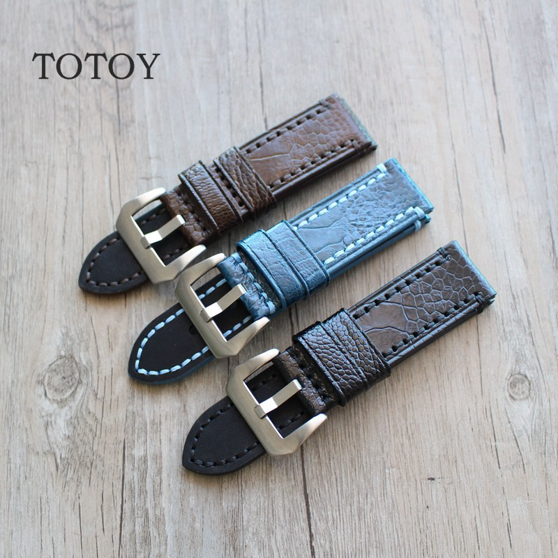 TOTOY Hand Ostrich Foot Watchbands, 20MM 22MM 24MM Retro Men Leather Watchbands, Adapter PAM111 Strap<br>