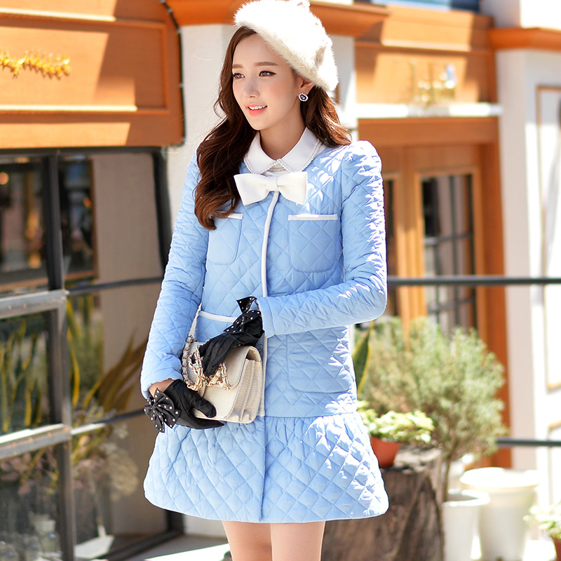 Original 2016 Brand Winter Mermaid Jacket Plus Size Bow Pockets Slim Elegant Fashion Womens Long Light Blue Parka WholesaleОдежда и ак�е��уары<br><br><br>Aliexpress